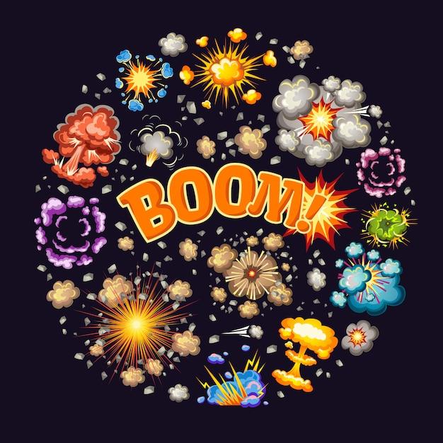 Efeitos de explosões rodada design Vetor grátis