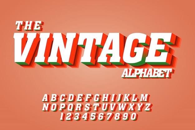 Efeitos de fonte de texto vintage em 3d Vetor Premium
