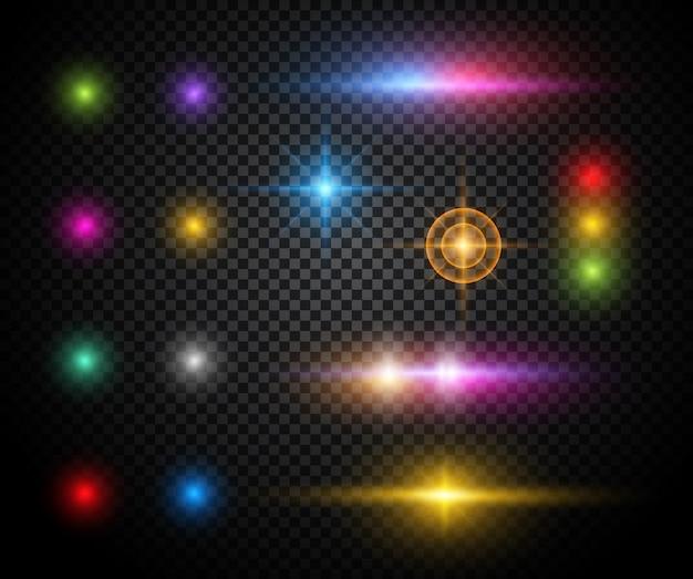 Efeitos de luz coloridos Vetor grátis