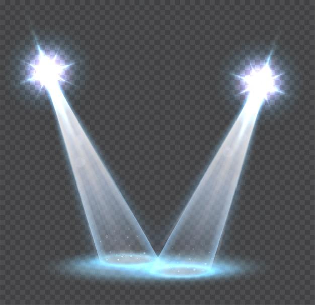 Efeitos de luz transparente cena, holofotes Vetor Premium