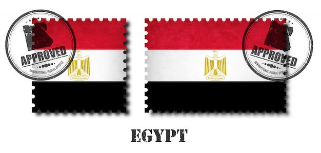 Egipto ou selo egípcio do teste padrão da bandeira Vetor Premium