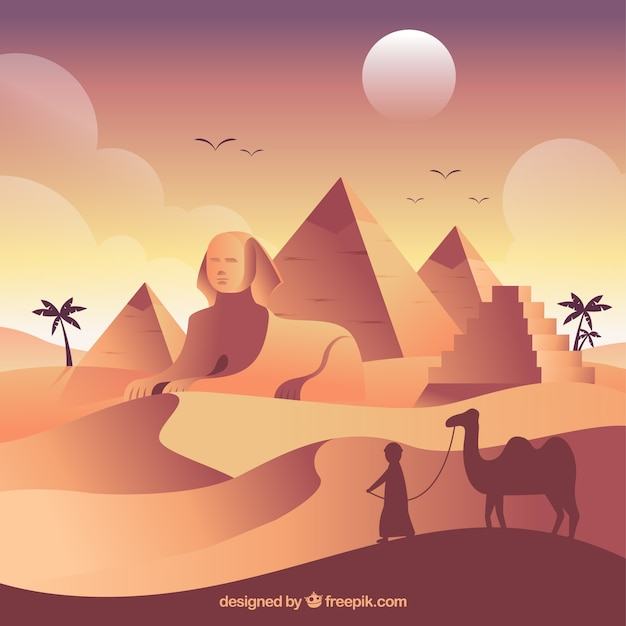Egito antigo paisagem com design plano Vetor grátis