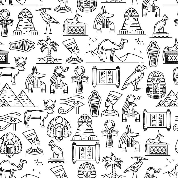 Egito cultura antiga símbolos sem costura padrão Vetor Premium