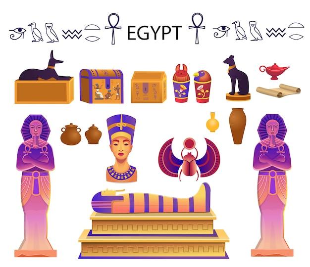 Egito decorado com um sarcófago, baús, estátuas do faraó com o ankh, uma estatueta de gato, cachorro, nefertiti, colunas, escaravelho e uma lâmpada. Vetor Premium