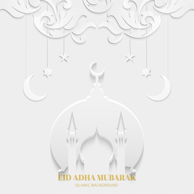 Eid adha mubarak cartão branco cor com mesquita e textura padrão floral design islâmico Vetor Premium