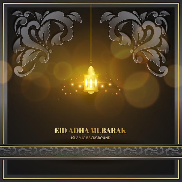 Eid adha mubarak cartão de saudação ouro preto com lâmpada e textura de padrão floral design islâmico Vetor Premium