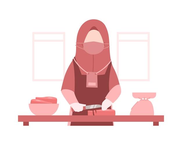 Eid al-adha background com uma mulher muçulmana usa um hijab e está cozinhando carne na cozinha ilustração Vetor Premium