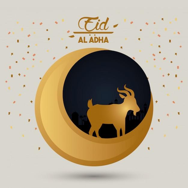 Eid al adha cartão de celebração com lua e cordeiro Vetor Premium