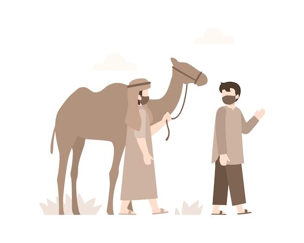 Eid al-adha fundo com dois homens árabes estavam andando com seus camelos no meio do deserto ilustração Vetor Premium