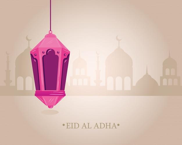 Eid al adha mubarak, feliz festa de sacrifício, com lanterna pendurada e silhueta da cidade da arábia Vetor Premium
