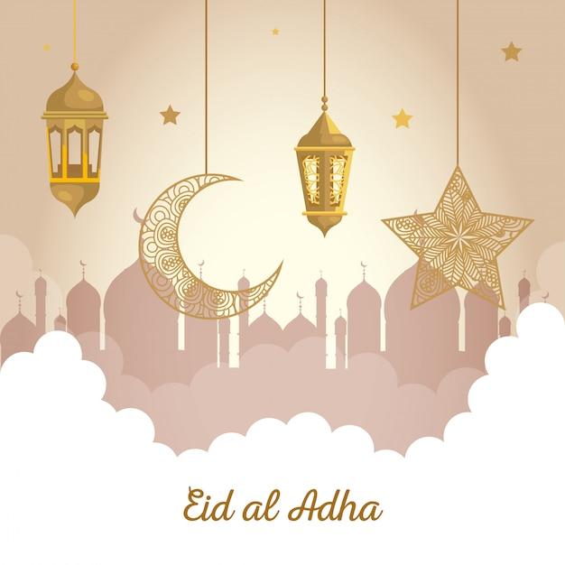 Eid al adha mubarak, feliz festa de sacrifício, lanternas com lua e estrela pendurada Vetor Premium