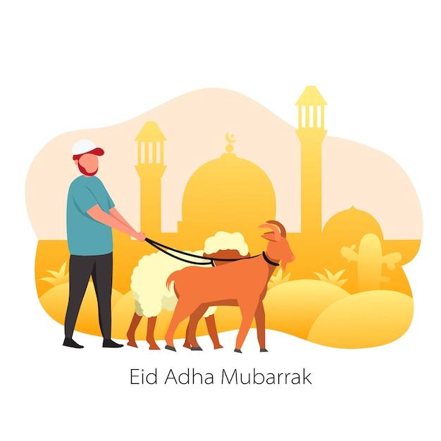 Eid al-adha mubarrak animal sacrifício Vetor Premium