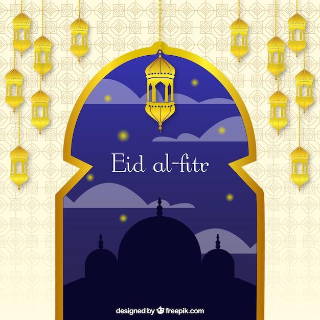 Eid al-fitr fundo com janela dourada e lanternas Vetor grátis