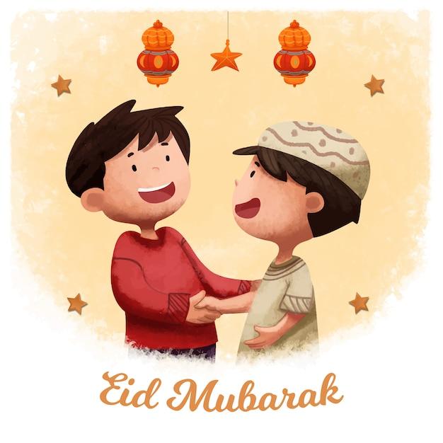 Eid al fitr fundo islâmico Vetor Premium