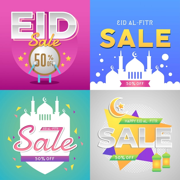 Eid al fitr venda Vetor Premium