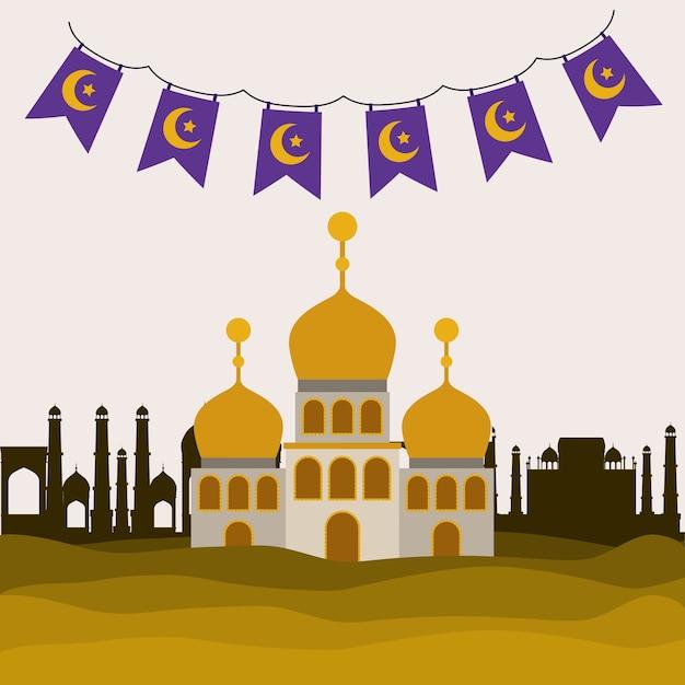 Eid cartão de mubarak com edifício do castelo Vetor Premium