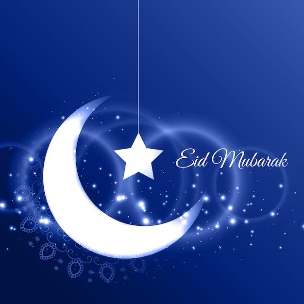 Eid, mubarak, cartão, crescente, lua, azul, fundo Vetor grátis
