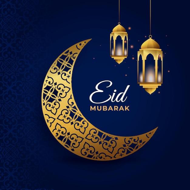 Eid mubarak com lua crescente dourada Vetor Premium