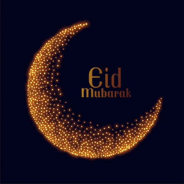 Eid mubarak design de lua de brilho dourado Vetor grátis