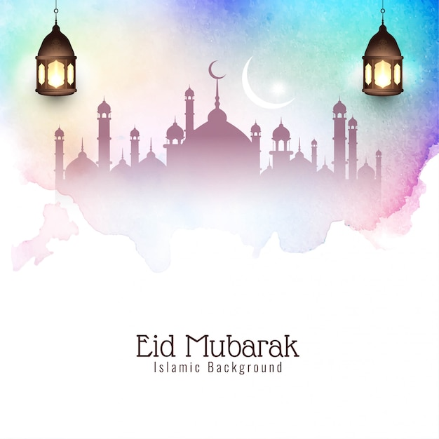 Eid mubarak elegante decorativo colorido Vetor grátis