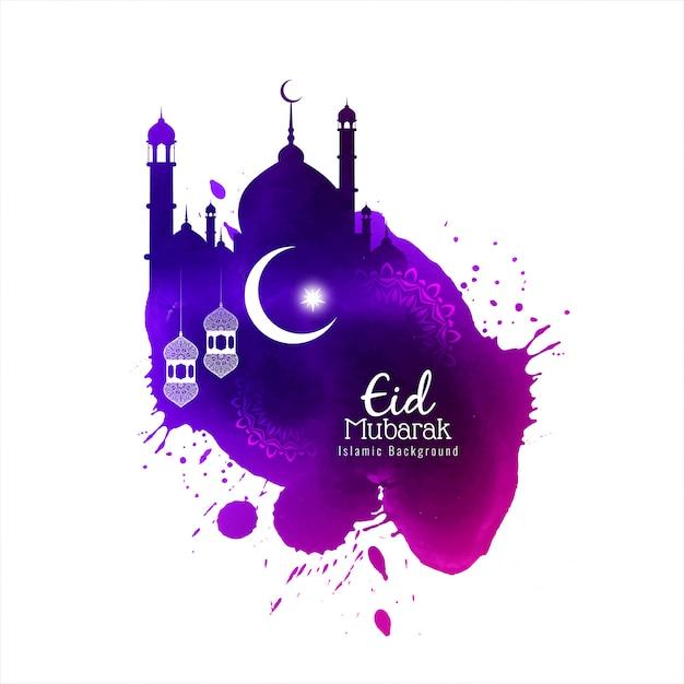 Eid mubarak islâmico aquarela elegante fundo Vetor grátis