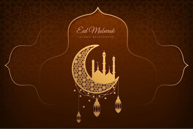 Eid mubarak lindo cartão fundo de férias Vetor grátis