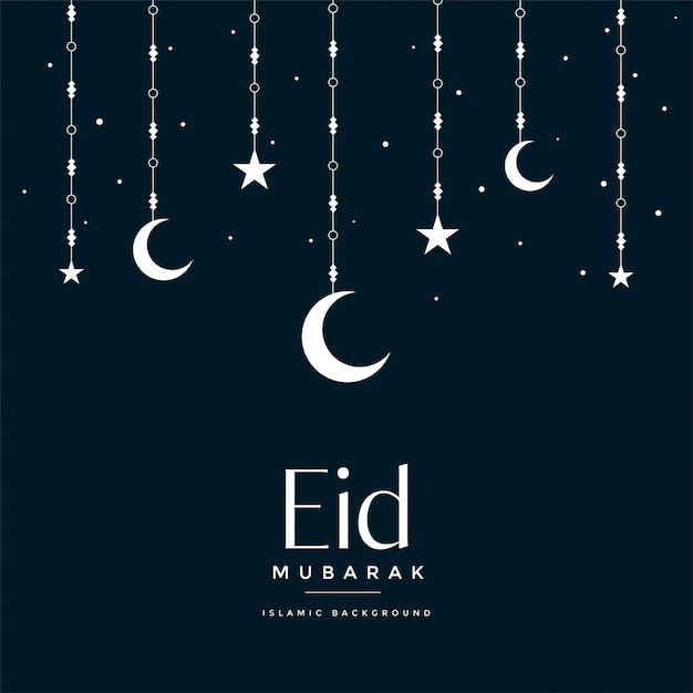 Eid mubarak pendurado lua e estrelas saudando Vetor grátis