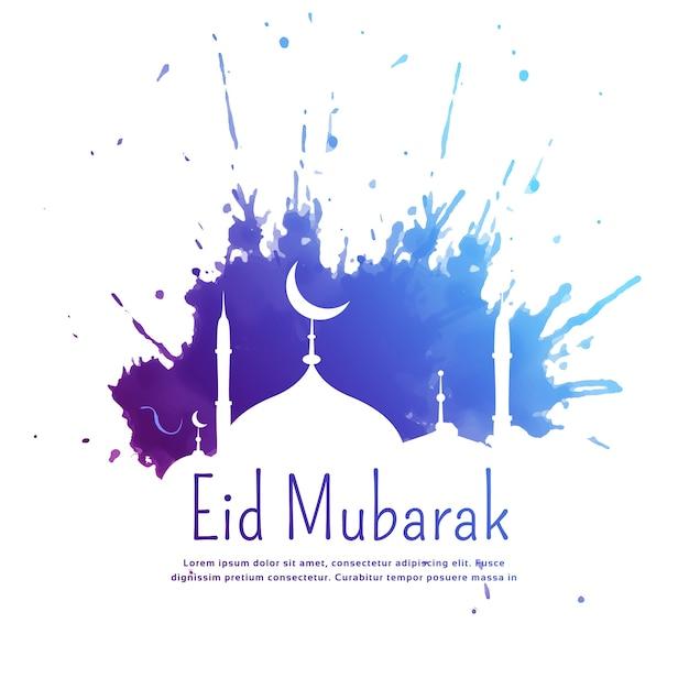 Eid mubarak saudação com tinta azul splatter e mesquita silhueta Vetor grátis