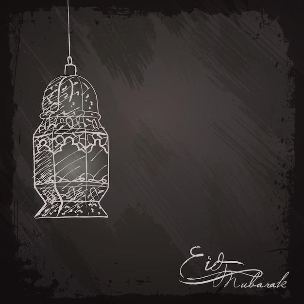 Eid mubarak saudação fundo lanterna esboço Vetor Premium