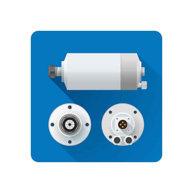 Eixo colorido resfriamento de água motor elétrico ângulos diferentes ilustração ícone longa sombra arredondada fundo quadrado Vetor Premium