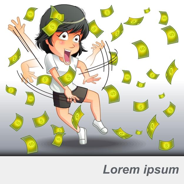 Ela conseguiu um dinheiro de negócios. Vetor Premium