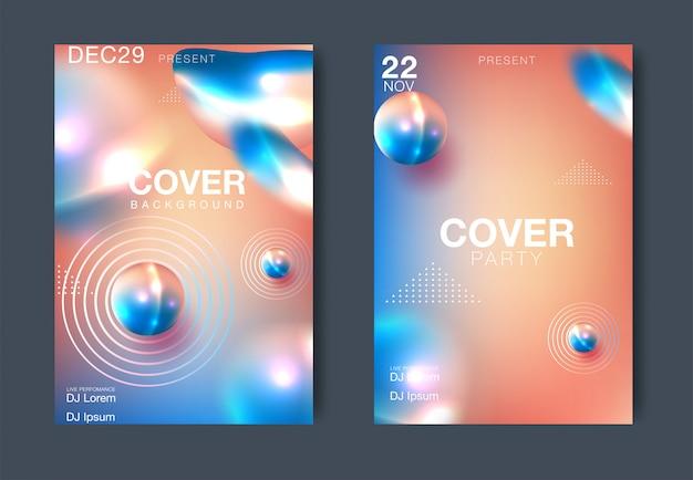 Electro noite e electro design de modelo de cartaz de festa. fundo do clube de música. ilustração vetorial Vetor Premium
