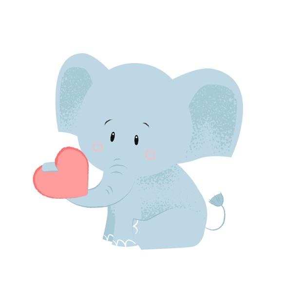 Elefante bebê fofo com coração vermelho no porta-malas Vetor grátis