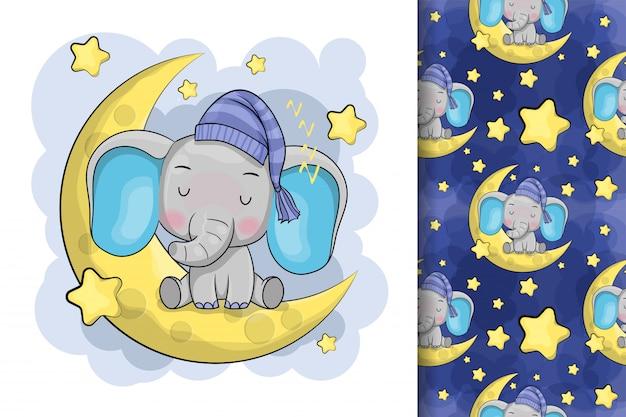 Elefante bonito dos desenhos animados está dormindo na lua Vetor Premium