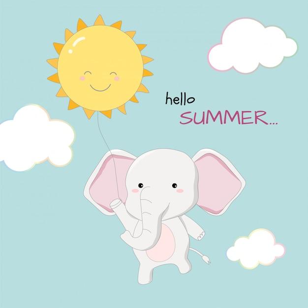 Elefante bonito olá verão banner mão desenhada estilo Vetor Premium