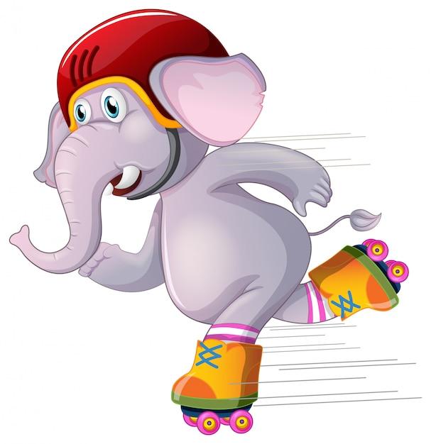 Elefante cinzento patinando em branco Vetor grátis