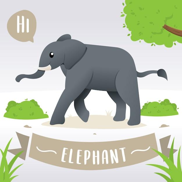 Elefante de bebê bonito dos desenhos animados Vetor Premium