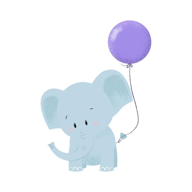 Elefante de bebê fofo com balão de ar amarrado na cauda Vetor grátis