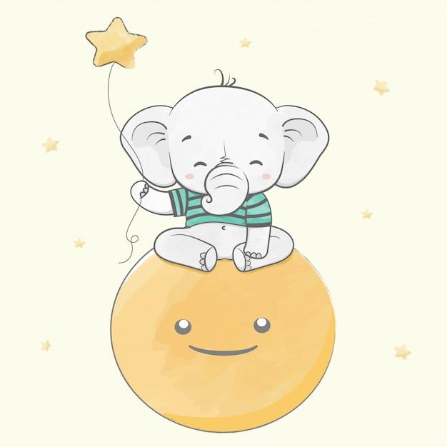 Elefante de bebê fofo sentar na lua com mão de desenhos animados de cor de água de estrelas desenhada Vetor Premium