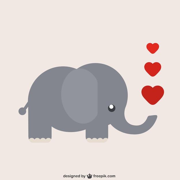 Elefante dos desenhos animados com corações Vetor grátis
