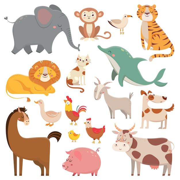 Elefante dos desenhos animados da criança, gaivota, golfinho, animal selvagem. animais de estimação, fazenda e animais da selva vector coleção de ilustração dos desenhos animados Vetor Premium