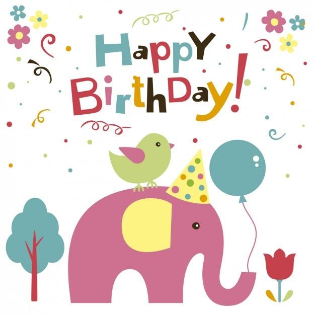 Elefante e cartão de aniversário do pássaro Vetor grátis