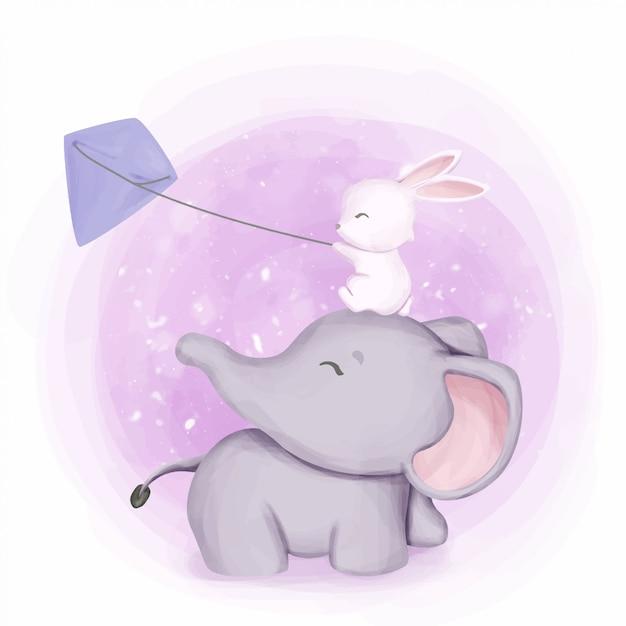 Elefante e coelho brincando pipa Vetor Premium