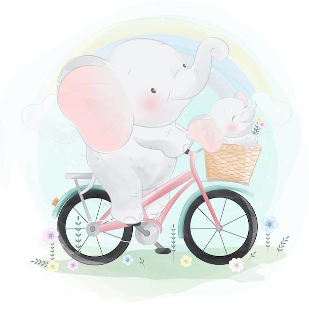 Elefante fofo andando de bicicleta com um pequeno elefante Vetor Premium
