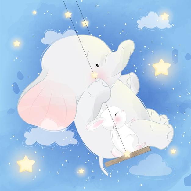 Elefante fofo com coelho sentado no balanço Vetor Premium