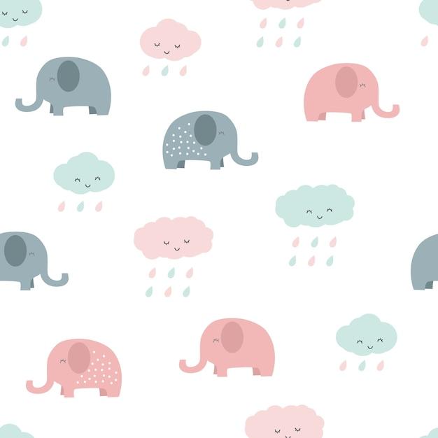 Elefante fofo e nuvem dos desenhos animados pastel sem costura ...