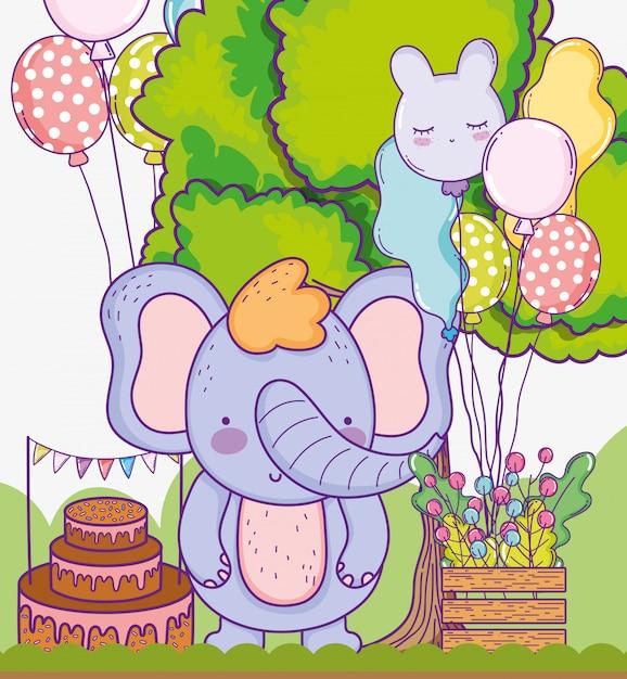 Elefante fofo feliz aniversário com balões de bolo Vetor Premium
