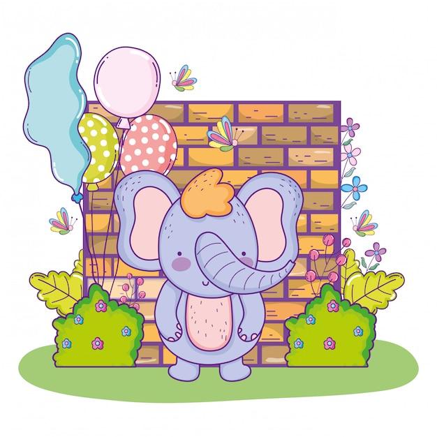 Elefante fofo feliz aniversário com balões Vetor Premium