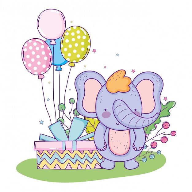 Elefante fofo feliz aniversário com presente presente e balões Vetor Premium