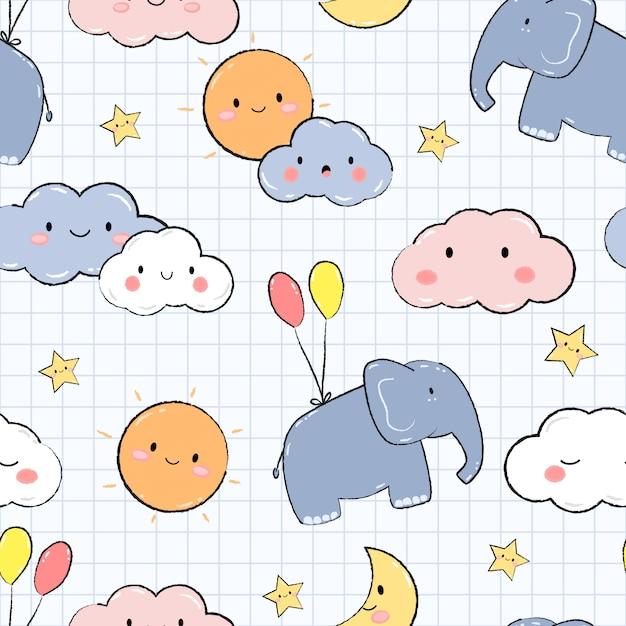 Elefante fofo no céu dos desenhos animados doodle padrão sem emenda Vetor Premium